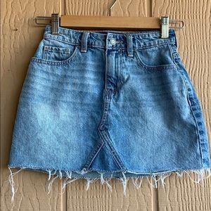 Hollister distressed jean/denim mini skirt